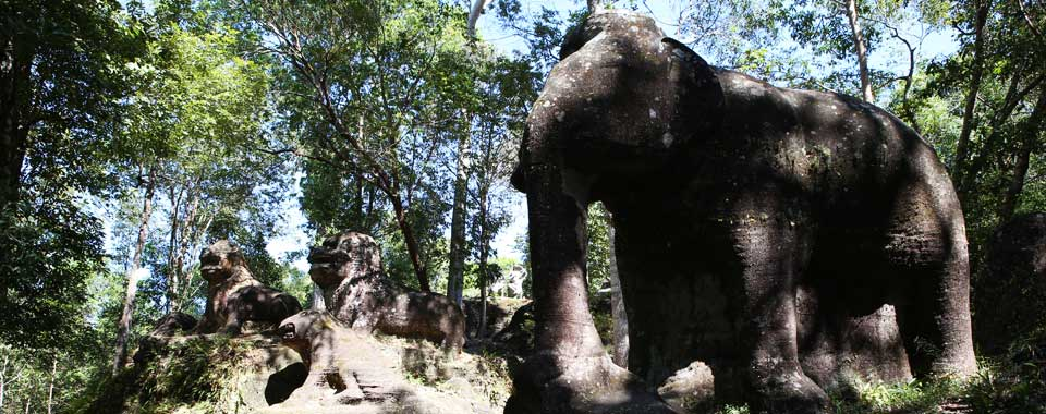 Stone Elephants and Lions at Srah Damrei on Kulen Mountain