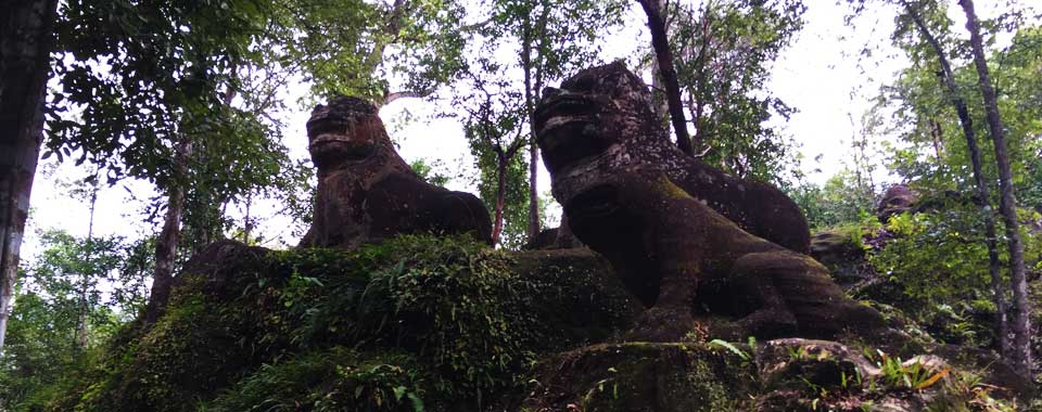 The Stone Lions at Phnom Kulen
